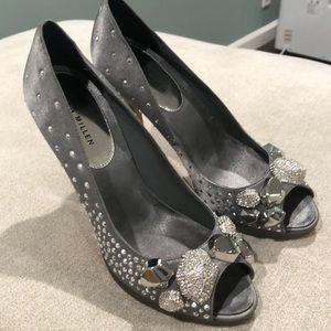 Size 38. Karen Millen Open Toe Crystal Pumps